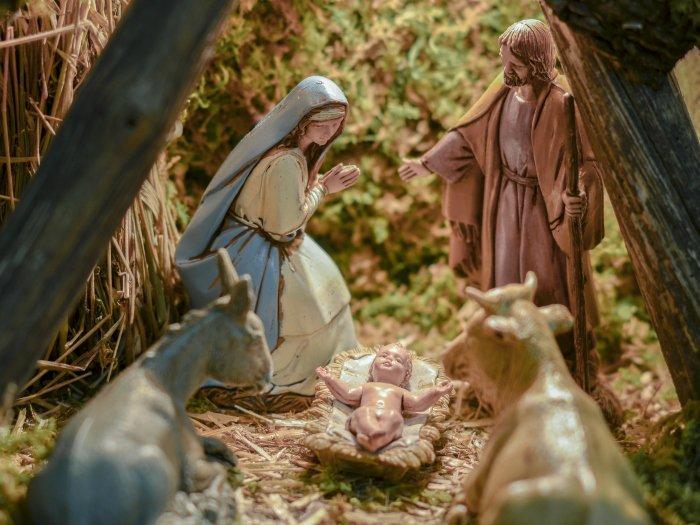 Escena de la navidad en un pesebre
